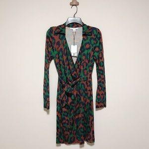 Dvf savannah leopard print dress medium green